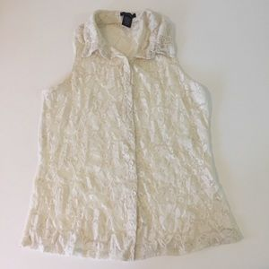 Timing Cream Sexy Classy Lace Button Down Top